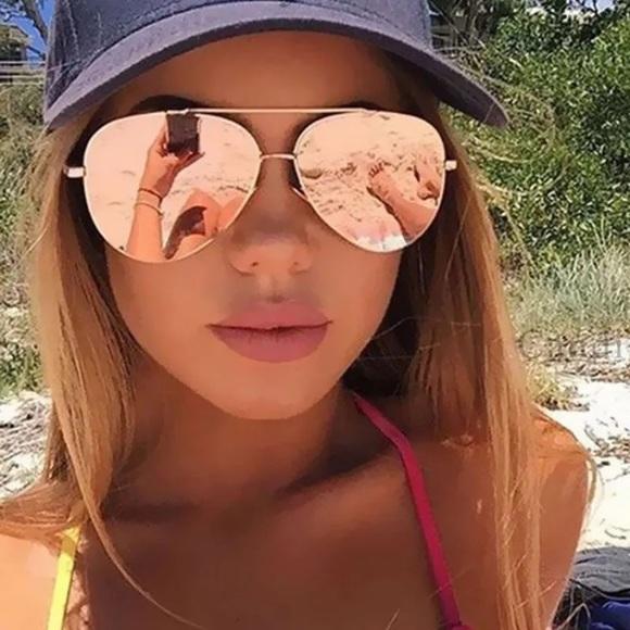 329dcbdcb422 Oversized Pink Mirror Sunglasses